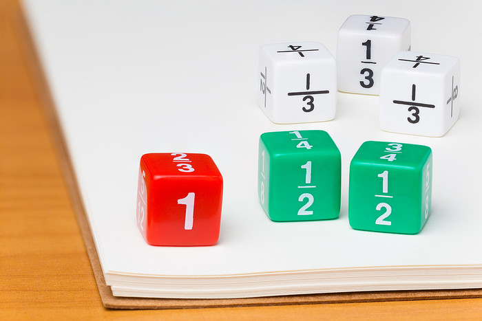 Fraction Dice on Paper
