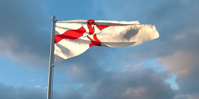 Northern Ireland Flag Against Cloudy Sky