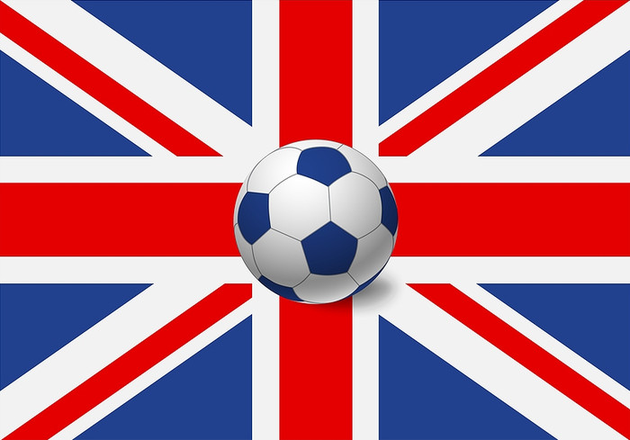 UK Flag and Blue Panelled Football