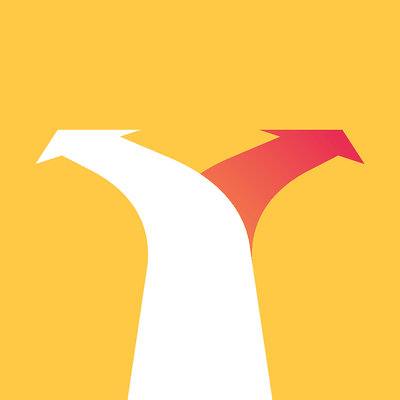 Arrow Splitting in Two Against Yellow Background