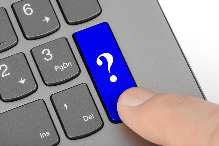 Blue Question Mark Keyboard Button