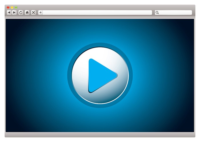 Blue Web Browser Play Button